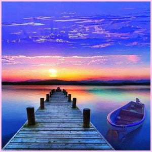 Sunset Pier-Diamond Painting Kit USPS-40x40cm (16x16 in)-Round-Heartful Diamonds
