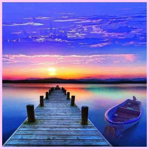 Image of Sunset Pier-Diamond Painting Kit USPS-40x40cm (16x16 in)-Round-Heartful Diamonds