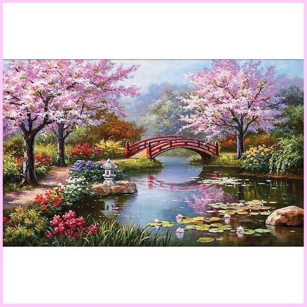 Japanese Garden-Diamond Painting Kit USPS-30x45cm (12x18 in)-Round-Heartful Diamonds