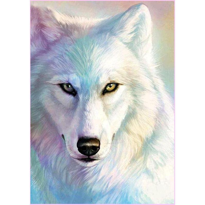 White Wolf-Diamond Painting Kit 30x45cm (12x18 in) -Square-Heartful Diamonds