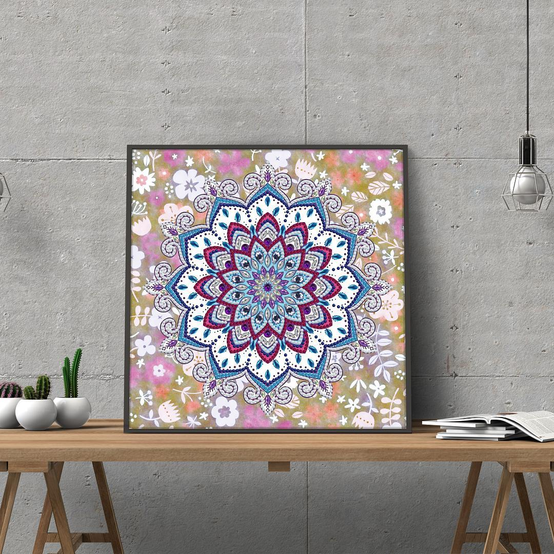 Floral Pink Mandala - Glow in the Dark - Heartful Diamonds