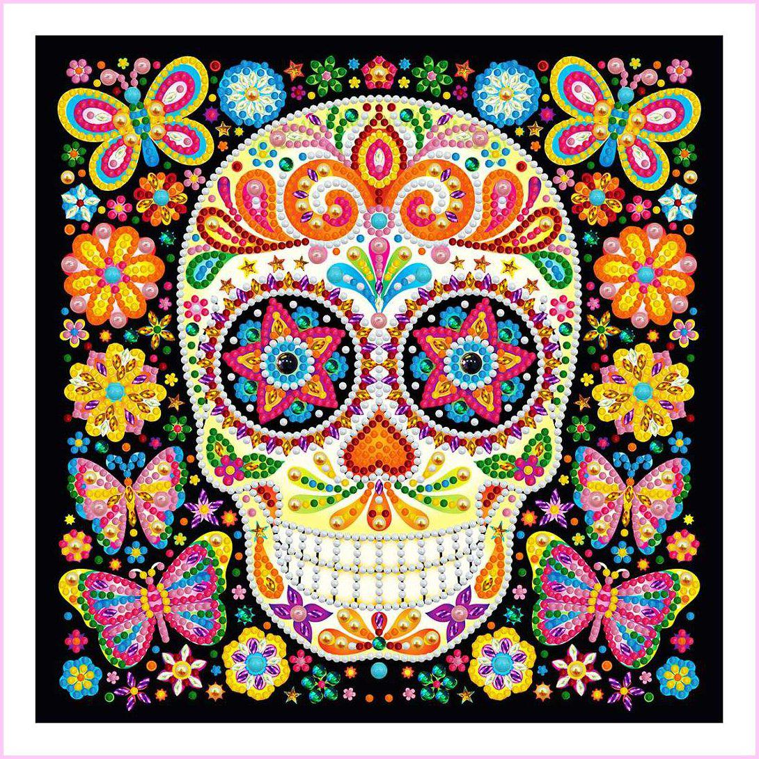 Starry Eye Sugar Skull - Glow in the Dark - Heartful Diamonds