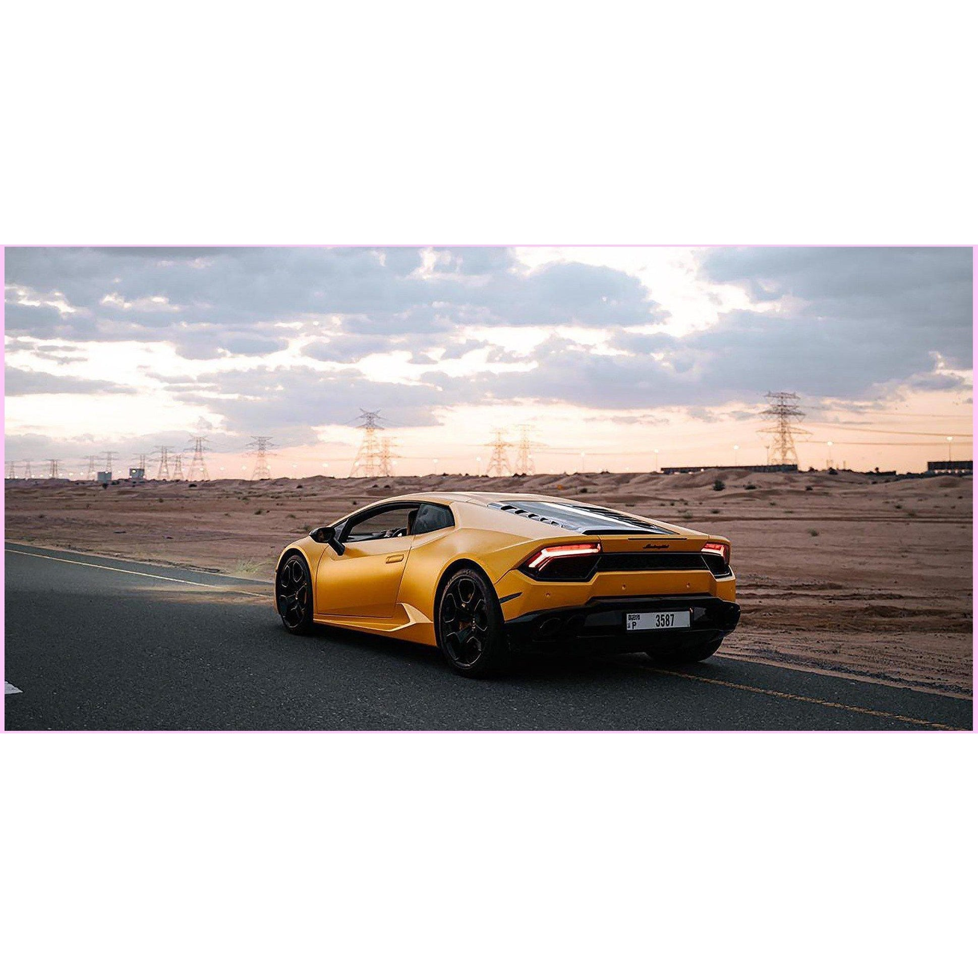 Yellow Lamborghini-Diamond Painting Kit 60x30cm (24x12 in) -Round-Heartful Diamonds