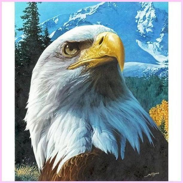 American Bald Eagle-Diamond Painting Kit-20x25cm (8x10 in)-Square-Heartful Diamonds