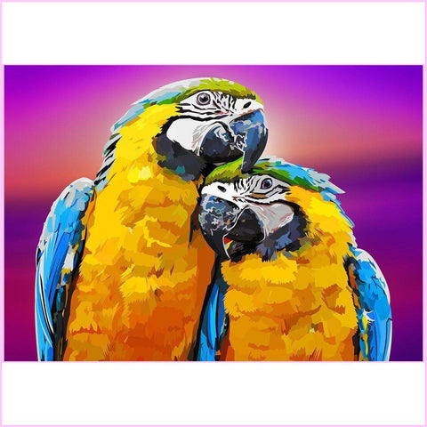 Image of Amorous Parrots-Diamond Painting Kit USPS-30x40cm (12x16 in)-Square-Heartful Diamonds