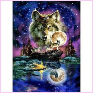 Astrological Wolf Pack-Diamond Painting Kit USPS-30x40cm (12x16 in)-Square-Heartful Diamonds