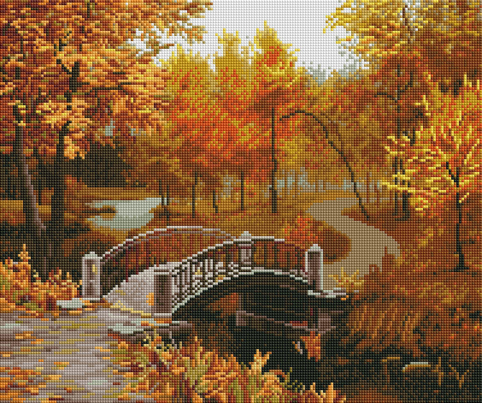 autumn park diamond painting rendering preview by create love share