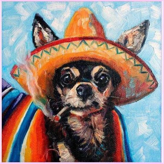 Ay! Chihuahua-Diamond Painting Kit-30x30cm (12x12 in)-Square-Heartful Diamonds