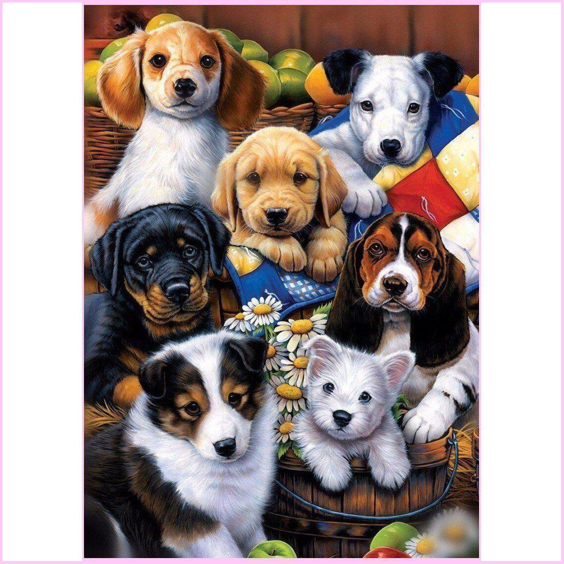 Backyard Dogs-Diamond Painting Kit-30x40cm (12x16 in)-Square-Heartful Diamonds