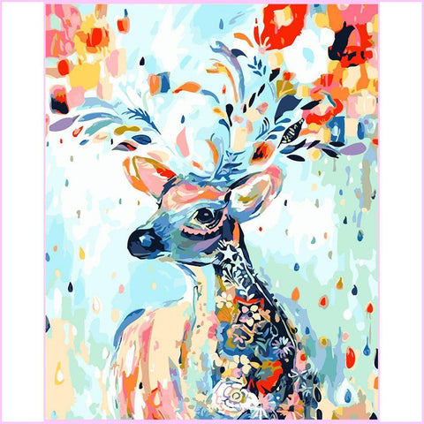 Beautiful Blooming Deer-Diamond Painting Kit-30x40cm (12x16 in)-Square-Heartful Diamonds