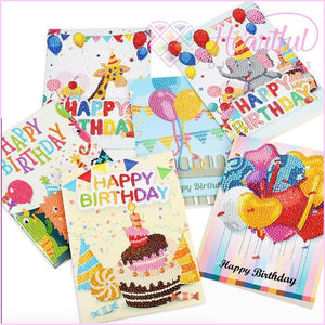 Birthday Card 5D Diamond Art - Pack of 6-Birthday Cards-Heartful Diamonds