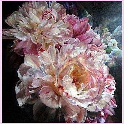 Blooming Carnations-Diamond Painting Kit-30x30cm (12x12 in)-Square-Heartful Diamonds