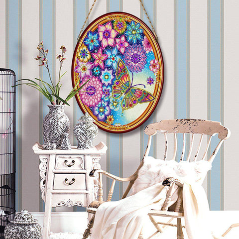 Blooms and Butterfly - Large Hanging Decoration-Large Hanging Decoration-Heartful Diamonds