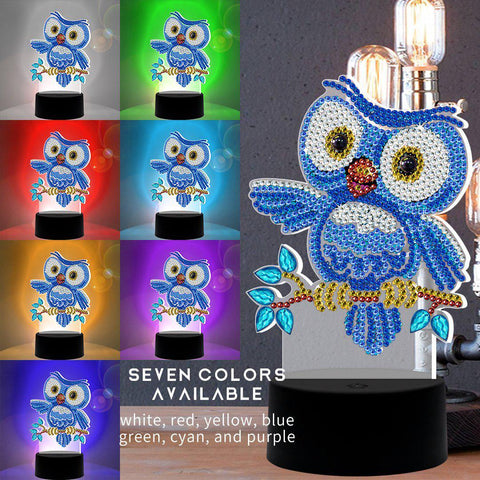 Blue Owl 3D Night Lamp-3D Night Lamp-Heartful Diamonds