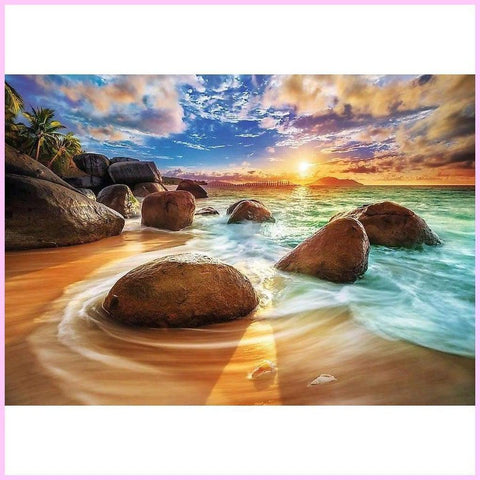 Image of Boulders by the Beach-Diamond Painting Kit-30x40cm (12x16 in)-Square-Heartful Diamonds