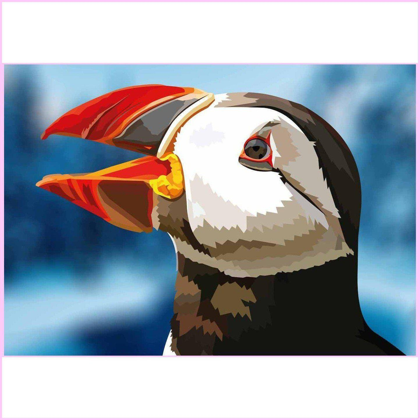 Brilliant Puffin Bird-Diamond Painting Kit-35x50cm (14x20 in)-Square-Heartful Diamonds