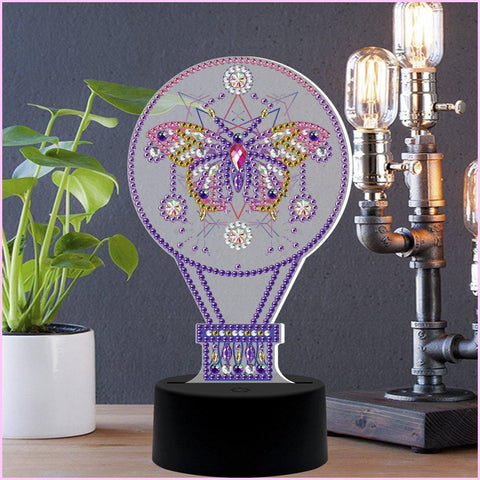 Image of Butterfly Hot Air Balloon 3D Night Lamp-3D Night Lamp-Heartful Diamonds