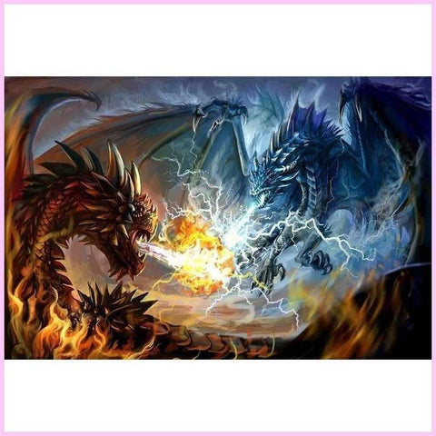 Image of Clash of Storm and Fire-Diamond Painting Kit-20x30cm (8x12 in)-Square-Heartful Diamonds