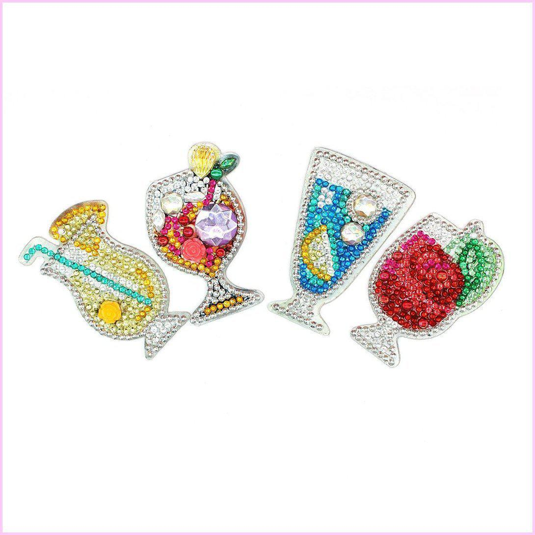 Cocktail Glasses- Diamond Key Chains-Key chain-Heartful Diamonds