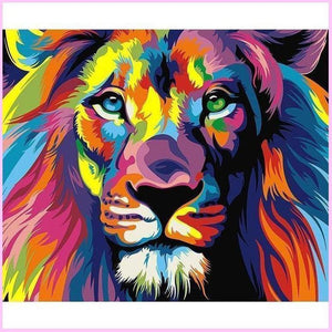 Colorful Dreams of a Lion-Diamond Painting Kit USPS-25x30cm (10x12 in)-Square-Heartful Diamonds
