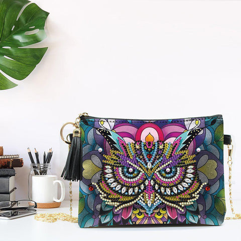Colorful Owl Diamond Painting Sling Purse-Purse-Heartful Diamonds