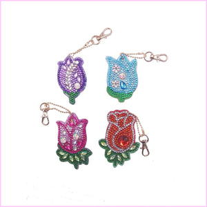 Crystal Tulips - Diamond Key Chains-Key chain-Heartful Diamonds