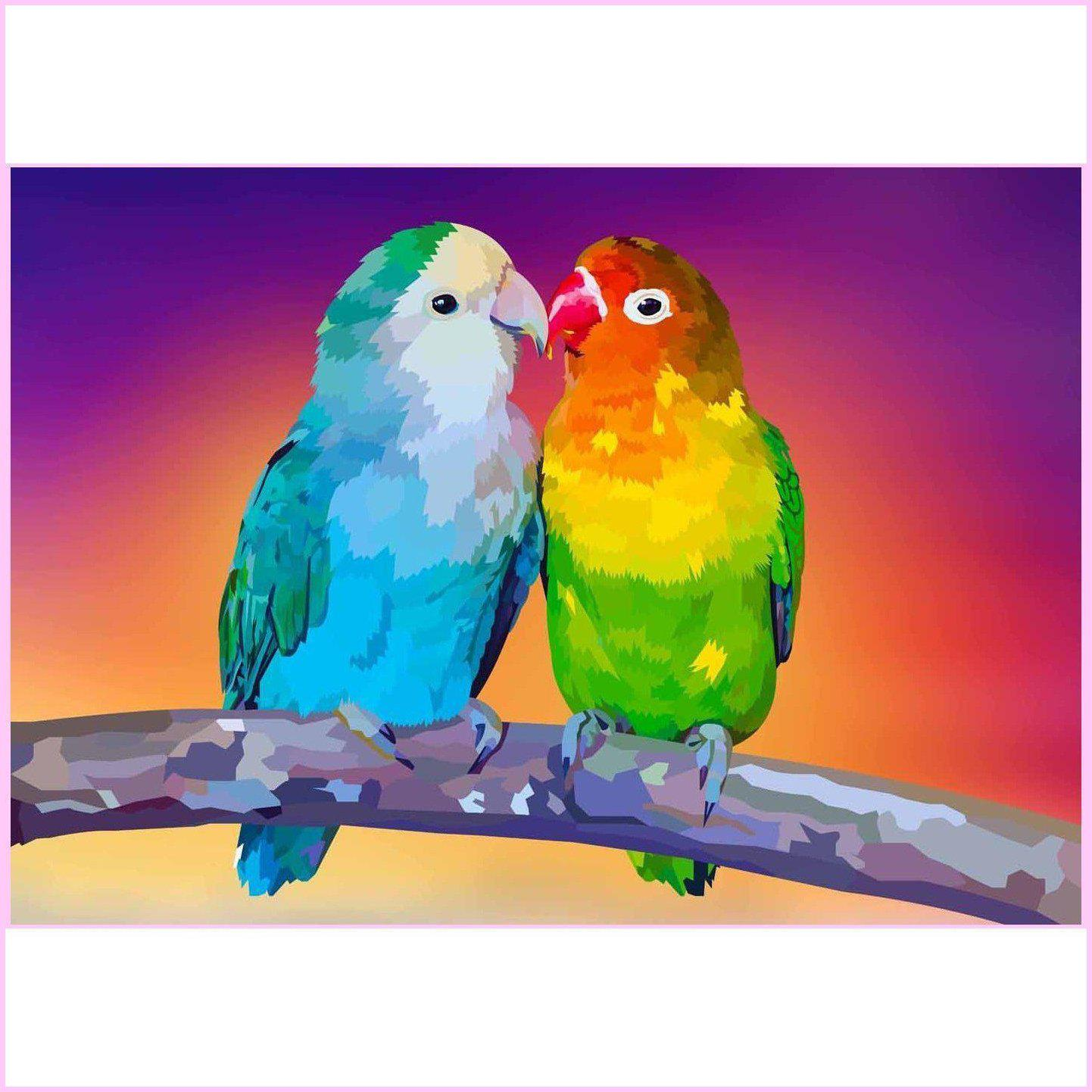 Cuddling Colorful Birds-Diamond Painting Kit USPS-35x50cm (14x20 in)-Square-Heartful Diamonds