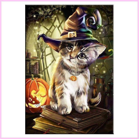 Image of Cute Halloween Kitten-Diamond Painting Kit-30x40cm (12x16 in)-Square-Heartful Diamonds