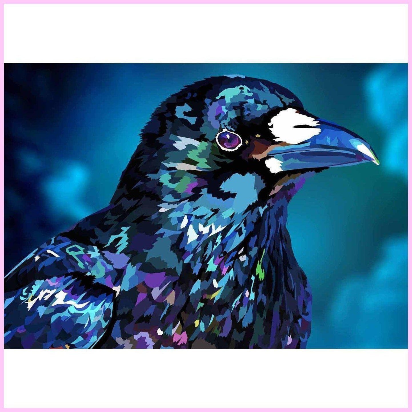 Diamond Raven-Diamond Painting Kit USPS-35x50cm (14x20 in)-Square-Heartful Diamonds