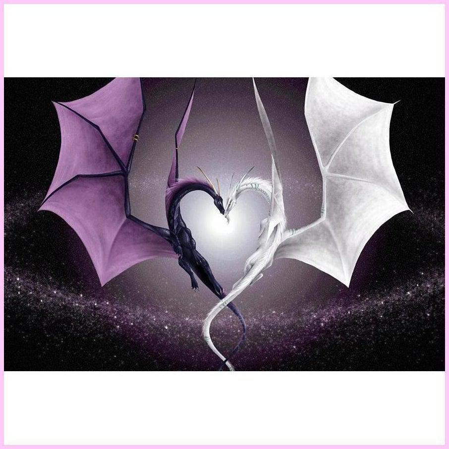Dragons of Darkness and Light-Diamond Painting Kit-25x40cm (10x16 in)-Square-Heartful Diamonds