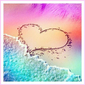 Drawn Together on the Beach-Diamond Painting Kit USPS-30x30cm (12x12 in)-Square-Heartful Diamonds