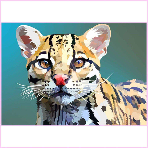Image of Dreamy Ocelot-Diamond Painting Kit-35x50cm (14x20 in)-Square-Heartful Diamonds