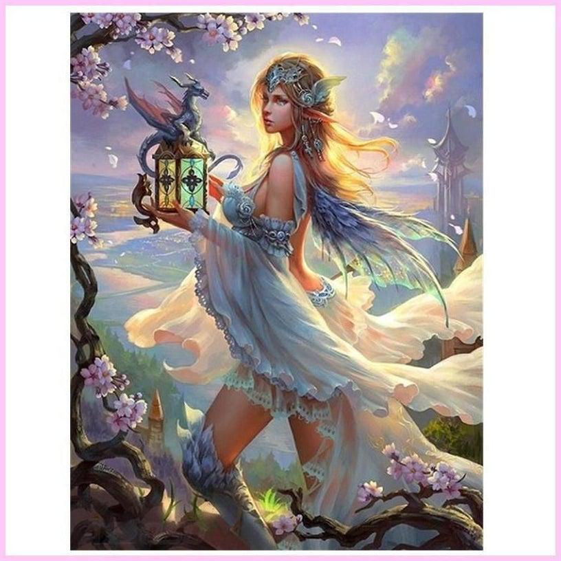 Fairy Elf and her Dragon-Diamond Painting Kit-30x40cm (12x16 in)-Square-Heartful Diamonds