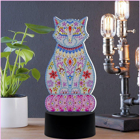Image of Feline Cat 3D Night Lamp-3D Night Lamp-Heartful Diamonds