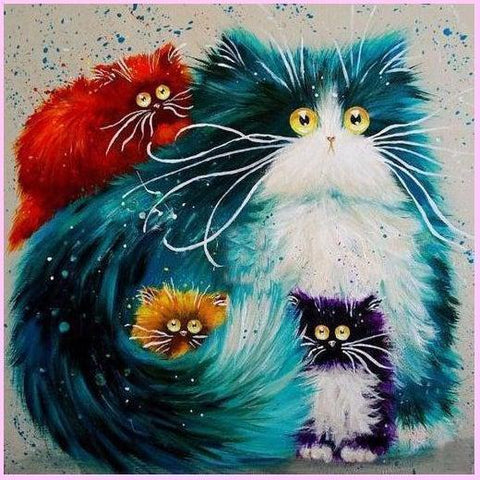 Image of Floofy Surreal Cats Collection - Classic-Diamond Painting Kit USPS-30x30cm (12x12 in)-Round-Heartful Diamonds