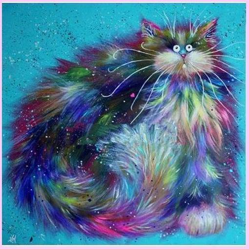 Floofy Surreal Cats Collection - Rainbow-Diamond Painting Kit-30x30cm (12x12 in)-Round-Heartful Diamonds