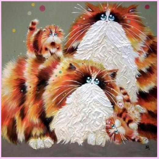 Floofy Surreal Cats Collection - Red-Diamond Painting Kit-30x30cm (12x12 in)-Square-Heartful Diamonds