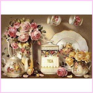 Flower Tea Set-Diamond Painting Kit-30x40cm (12x16 in)-Square-Heartful Diamonds