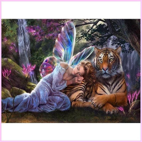 Forest Fairy and Guardian Tiger-Diamond Painting Kit USPS-30x40cm (12x16 in)-Square-Heartful Diamonds