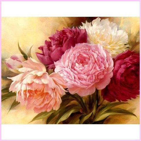 Full Peony flowers-Diamond Painting Kit USPS-30x40cm (12x16 in)-Square-Heartful Diamonds