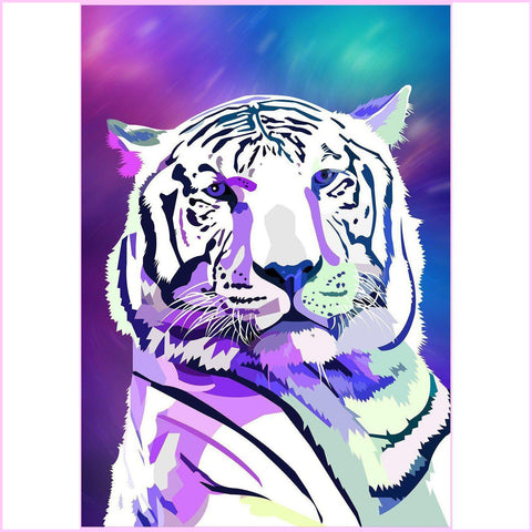 Image of Galaxy Tiger-Diamond Painting Kit USPS-30x40cm (12x16 in)-Square-Heartful Diamonds