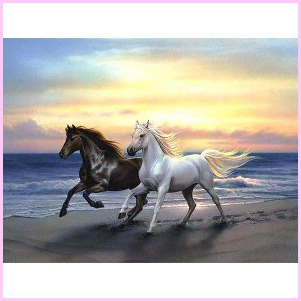 Galloping on Sunset Beach-Diamond Painting Kit-30x40cm (12x16 in)-Square-Heartful Diamonds