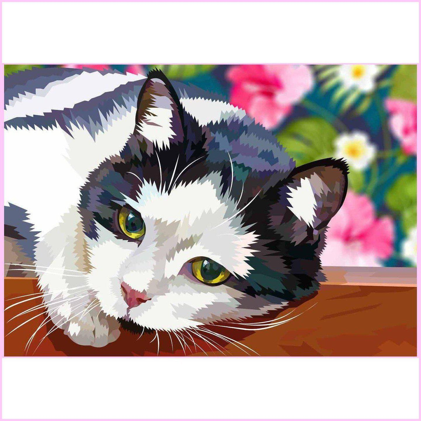 Garden Cat-Diamond Painting Kit USPS-35x50cm (14x20 in)-Square-Heartful Diamonds