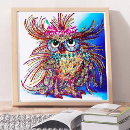 Glamorous Owl Diamond Painting Kit with Jewel Encrusted Design-Special Diamond Painting Kit-25x25cm (10x10 in)-Heartful Diamonds