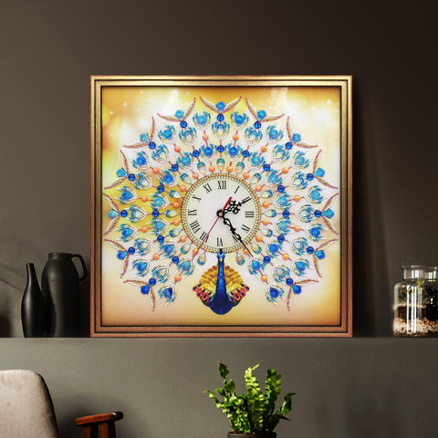 Image of Golden Sapphire Peacock Wall Clock-Wall clock-Heartful Diamonds