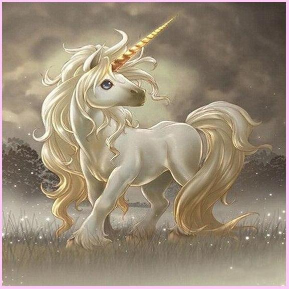Golden Unicorn Hour-Diamond Painting Kit-30x30cm (12x12 in)-Square-Heartful Diamonds