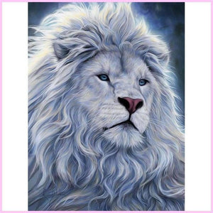 Great White Snow Lion-Diamond Painting Kit-30x40cm (12x16 in)-Square-Heartful Diamonds