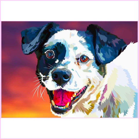 Happy Dog-Diamond Painting Kit-35x50cm (14x20 in)-Square-Heartful Diamonds