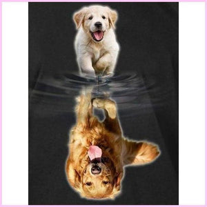 Happy Puppy Reflection-Diamond Painting Kit-30x40cm (12x16 in)-Square-Heartful Diamonds