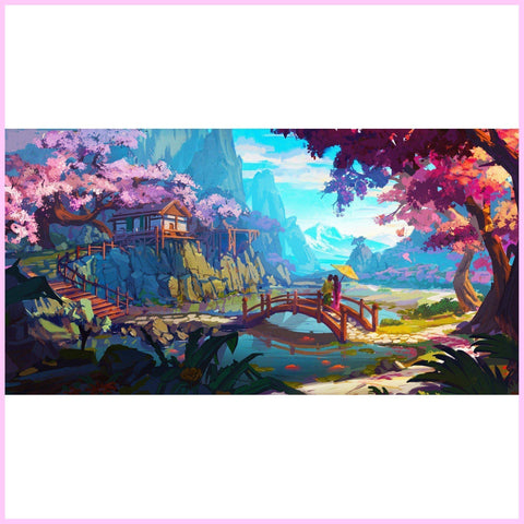 Image of Hidden Sanctuary Mountain Landscape (USA stock)-Diamond Painting Kit RSL-40x80cm (16x31 in)-Heartful Diamonds